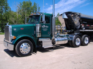 Serbu Sand & Gravel Ltd. Green Peterbilt Daycab Side Profile