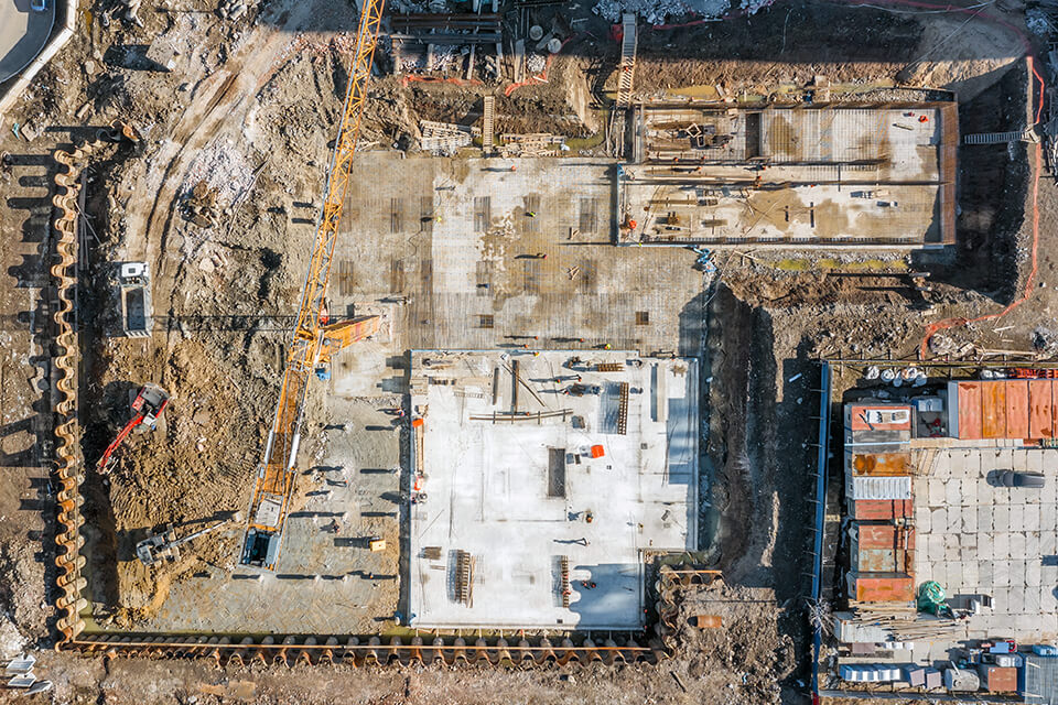 Arial view of a commercial construction site.